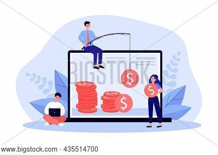 Freelancers Making Money Online. Businessman Catching Cash On Fishing Rod, Girl Holding Coin Flat Ve