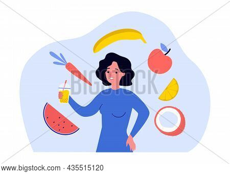 Woman With Glass Of Fresh Juice Surrounded By Fruits. Girl Holding Beverage With Straw In Hands Flat