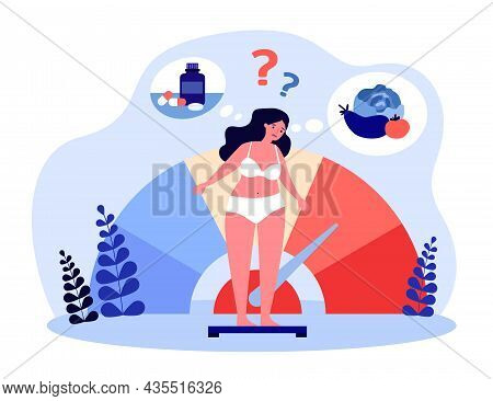 Woman Thinking About Weight Control. Girl In Underwear Standing On Scale In Doubt Flat Vector Illust