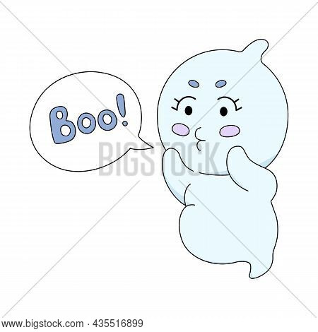 Cute Ghost With Text Cloud. Cartoon Soul. Colorful Vector Illustration Isolated On White Background