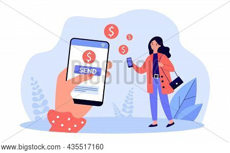 Female Hand Sending Money To Woman Online. Person Using Mobile App For Financial Transaction Flat Ve