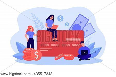 Tiny People Paying By Big Credit Card. Modern Man And Woman Using Laptop For Money Terminal And Bill