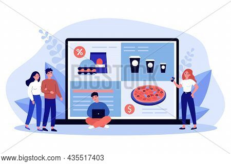 Tiny People Ordering Food Online On Laptop. Smiling Friends Buying Fastfood Using Internet Applicati
