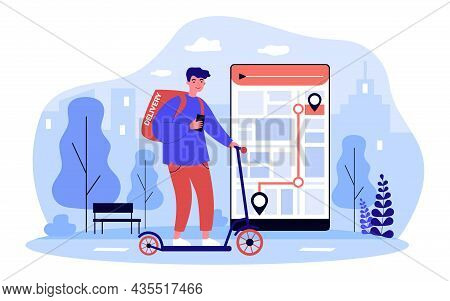 Deliveryman On Scooter Order Delivering With Online App. Courier Bringing Food To Clients, Tracking