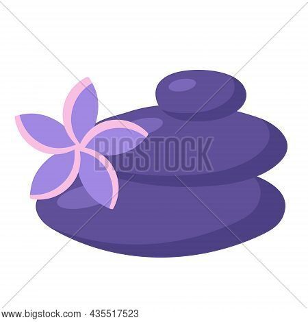 Balance Stones With Plumeria Flower. Spa And Massage Concept. Zen Element In Trendy Style. Vector Il