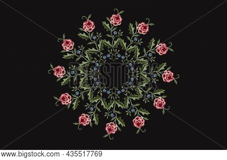 Pattern For Embroidery Of A Round Frame Of Twigs With Red-pink Roses Flowers With Leaves And A Rim O