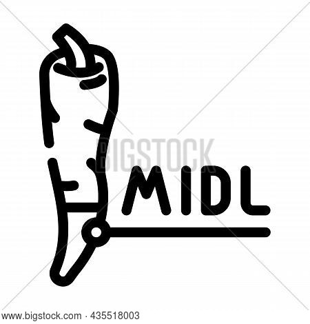 Middle Pepper Line Icon Vector. Middle Pepper Sign. Isolated Contour Symbol Black Illustration