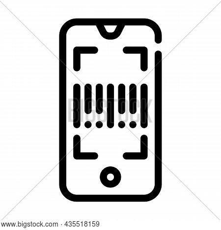 Barcode Scanner Application Line Icon Vector. Barcode Scanner Application Sign. Isolated Contour Sym