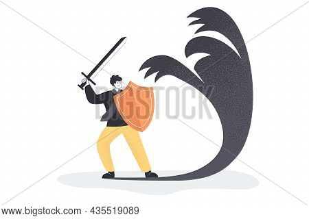 Businessman Cartoon Character Threatening Shadow. Man With Sword And Shield Fighting Against Symbol
