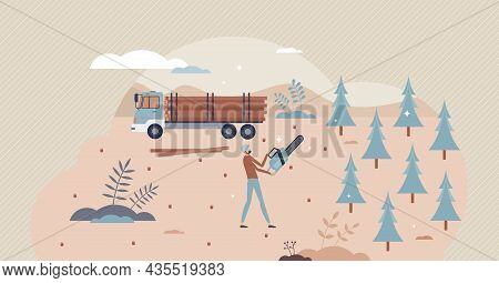 Deforestation Environmental Problem, Clearing Of Forested Land Tiny Person Concept. Worker Cutting T
