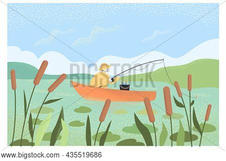 Cartoon Fisher Fishing On Boat In Lake. Landscape With Blue Sky And Man Catching Fish Flat Vector Il