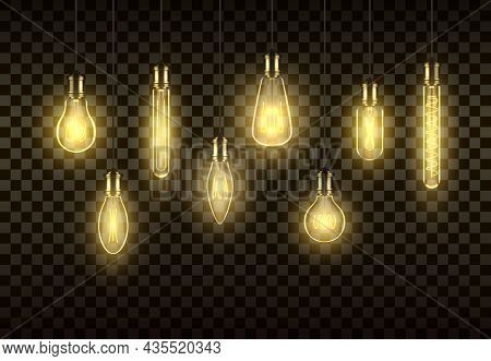 Incandescent Lamps Hanged On Wires Set Realistic Vector Antique Glowing Illuminated Lighbulb