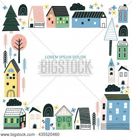 Template With Small Tiny Houses And Trees.