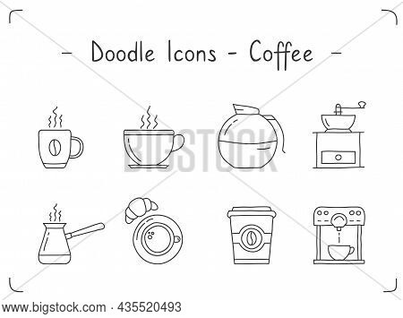 Eight Hand Drawn Coffee Doodle Icons, Vector Eps10 Illustration