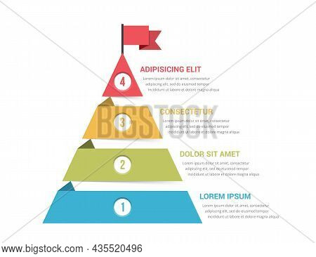 Four Steps To Success Concept, Pyramid Infographic Template, Vector Eps10 Illustration