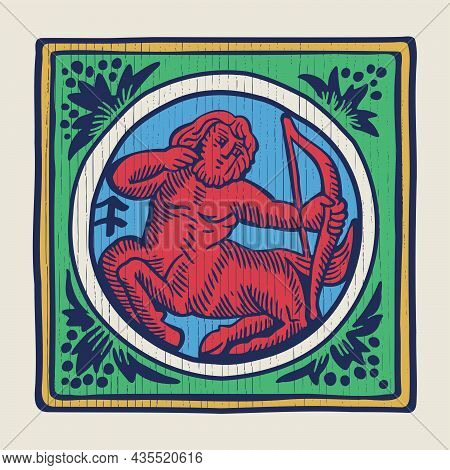 Archer Zodiac Medieval-style Illustration. Dim Colored Square Emblem Perfect For T-shirts, Retro Man
