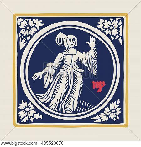 Virgin Zodiac Medieval-style Illustration. Dim Colored Square Emblem Perfect For T-shirts, Retro Man