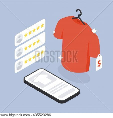 Customer Online Shopping Feedback Vector Isometric Illustration. User Clothes Review Application Wit