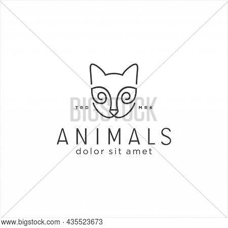Simple Cat Head Logo Line Art Monoline Style Modern And Minimalist Design Template. Abstract Kitty L