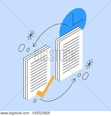 Paperwork Circulation Isometric Vector Illustration. Daily Working Process With Paper Sheet Report,