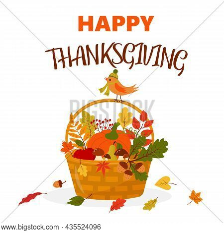 Happy Thanksgiving Basket With Pumpkin, Mushrooms, Fruits And Leaves. Bird In Hat Is Sitting On The