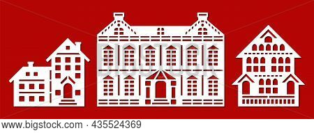 Set Of Silhouettes Of Houses. Facades Of Various Buildings, Houses, Palaces, Cottages, Townhouses. M
