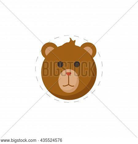 Bear Cartoon Flat Icon. Bear Clipart On White Background.