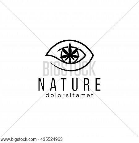 Medical Marijuana Cannabis With Eye Logo Outline Cannabis Eye Logo For Web Design Isolated On White