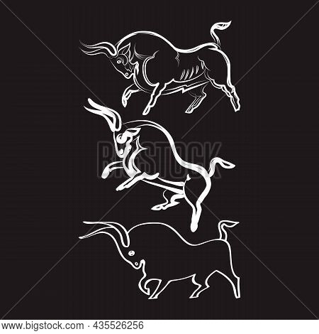 Three White Bulls On Black Background. Hand-drawn Bulls. Angry Animals In Different Poses. Side View