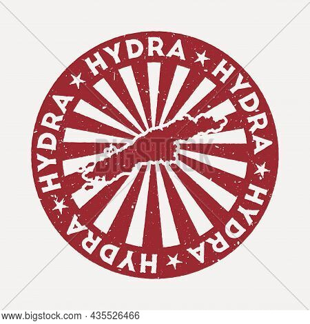 Hydra Stamp. Travel Red Rubber Stamp With The Map Of Island, Vector Illustration. Can Be Used As Ins
