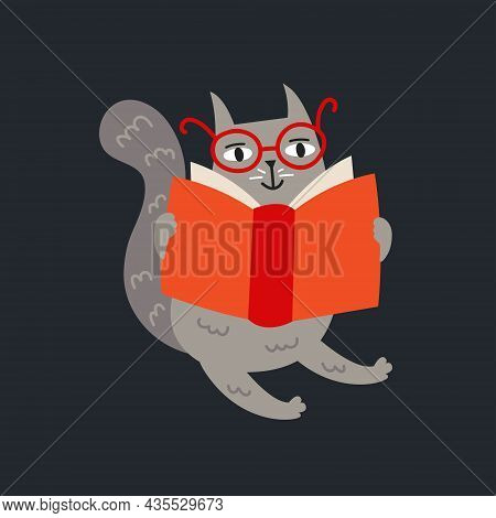 Domestic Funny Cat In Glasses Sitting Reading Book. Kitten, Kitty. Vector Illustration Isolated On B
