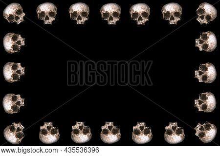 Human Skull Picture Frame. Human Skull Business Card. Halloween Human Skull.