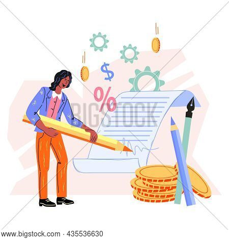 Business Woman Signing Up Contract Or Partnership Document, Flat Cartoon Vector Illustration Isolate