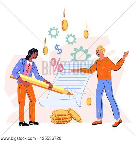 Business Contract Or Partnership Agreement Document Signing. Contract And Business Deal, Trade Barga