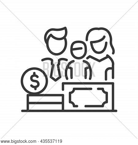 Family Budget - Vector Line Design Single Isolated Icon