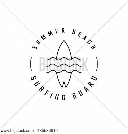 Surfing Wave Beach Line Art Logo Vector Illustration Template Icon Design. Paradise With Simple Mini
