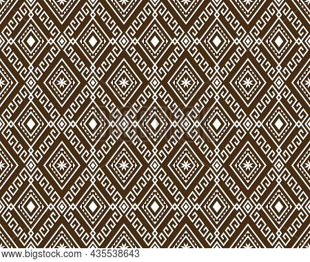 White Tribe Or Ethnic Seamless Pattern On Brown Background In Symmetry Rhombus Geometric Bohemian St