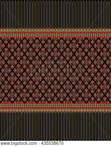 Yellow Red Native Or Ethnic Seamless Pattern On Black Background In Symmetry Rhombus Geometric Bohem