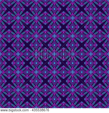 Magenta Turquoise Tribal Or Native Seamless Pattern On Purple Background In Symmetry Rhombus Geometr