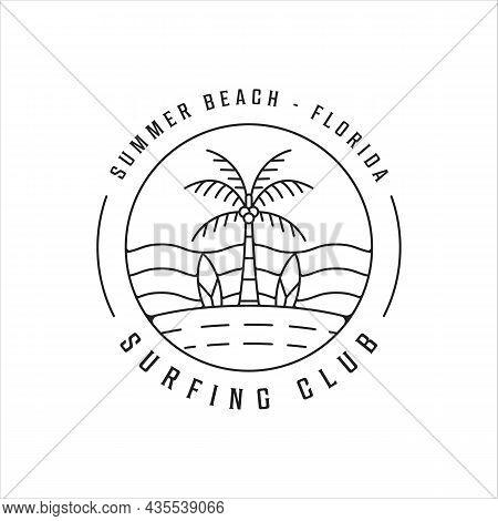 Surfing Beach Logo Line Art Simple Minimalist Vector Illustration Template Icon Design. Paradise Wit