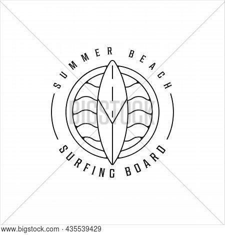 Surfing Island Beach Logo Line Art Vector Illustration Template Icon Design. Paradise Symbol With Mi