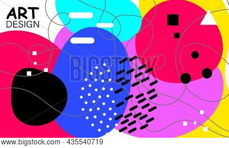 Fun 90s Background. Trendy Minimal. Patterns Pop Art. Abstract Colorful Fun Background. Trendy Eleme