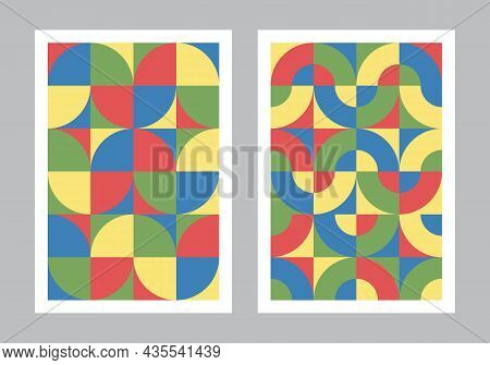 Abstract Geometric Pattern Background. Circle, Semicircle, Square Shapes. Bauhaus Style Art Colorful
