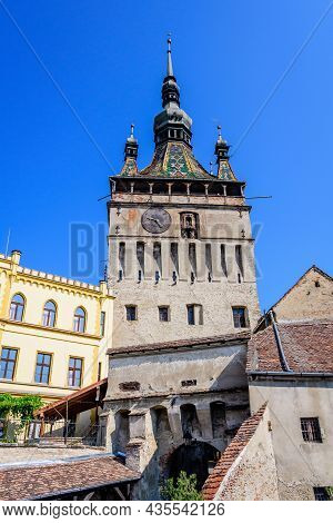 The The Clock Tower Or The Council Tower Of The Medieval Citadel In The Old Center Of Sighisoara, A