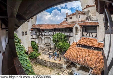 Bran, Transylvania, Romania - July 22, 2020: View Of Inner Yard Of Bran Castle Dated From 13th Centu