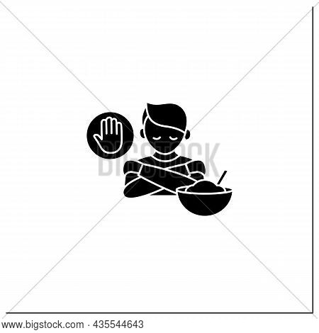 Mindful Eating Glyph Icon. Unconscious Nutrition. Overeating. Eat Through Loneliness. Healthcare Con