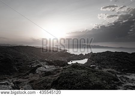 Rocky Coastal Landscape During A Sunset In Cadaques, Catalunya