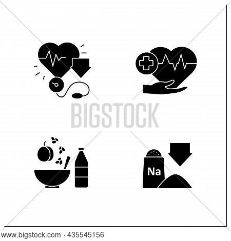 Dash Diet Glyph Icons Set. Reducing Blood Pressure, Low Sodium, Heart-healthy. Healthy Food Concepts