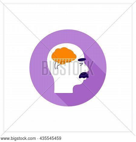 Mild Alzheimer Disease Color Icon. Initial Ill Stage. Neurologic Disorder Concept. Vector Illustrati