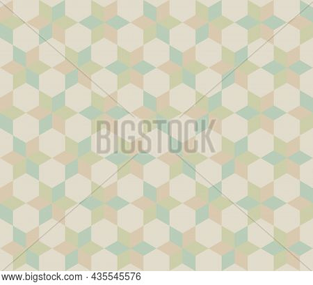 Seamless Abstract Geometric Pattern. Hexagon Shape Background Pastel Color. Arranged Zigzag Manner.